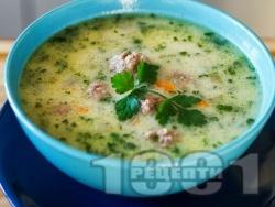 Традиционна супа топчета с ориз и застройка - класическа рецепта - снимка на рецептата